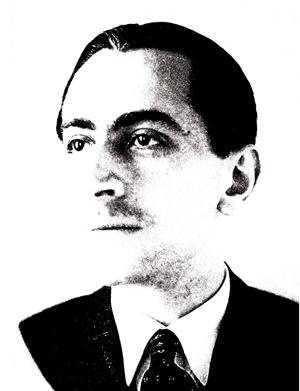 Portrait de Brossolette en bichromie