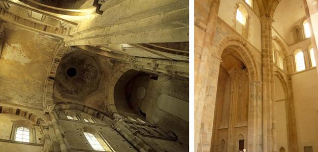 Le grand transept avant et après restauration