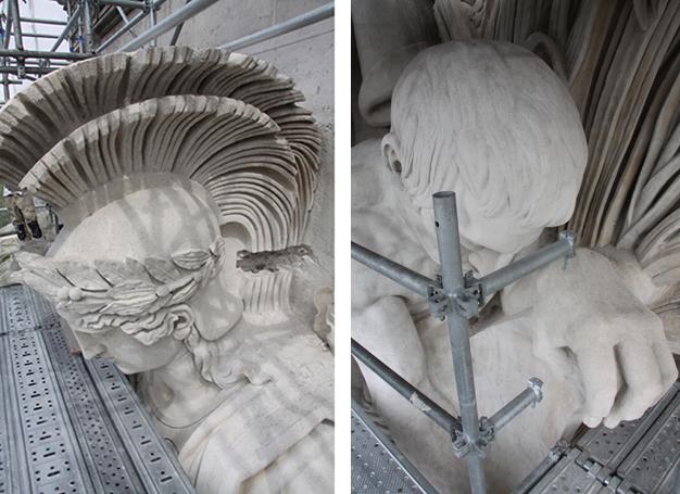 Détail des groupes sculptés restaurés / Arc de Triomphe