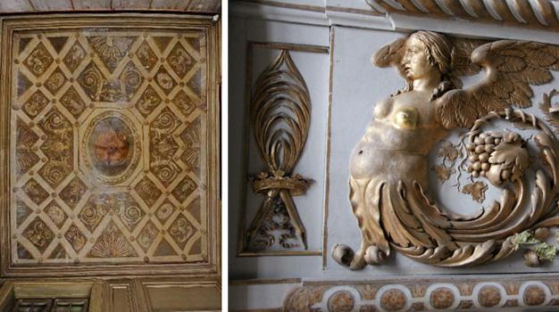 Plafond peint de l'antichambre avant restauration