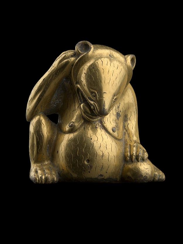 Sculpture en bronze doré représentant un ours, Chine, dynastie des Han occidentaux, 206 av. J.-C.-25 apr. J.-C. Bronze doré Collection Al Thani.