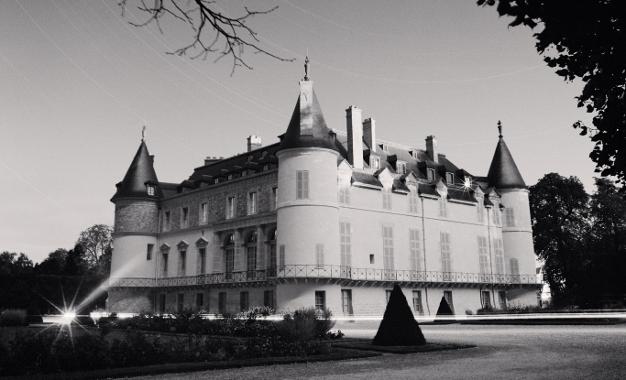 Photo du château de Rambouillet-façades sur jardin en noir et blanc