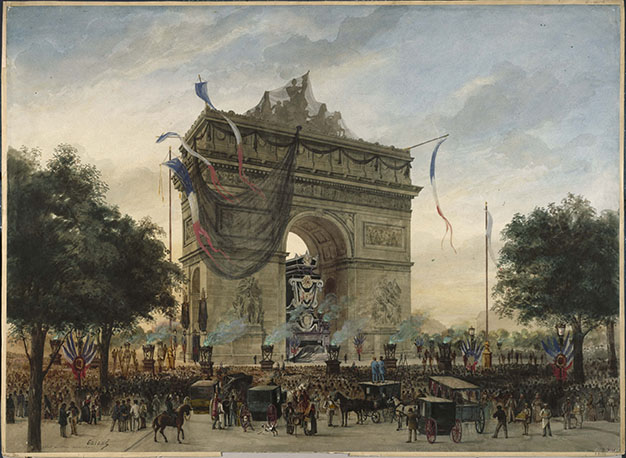 Le catafalque de Victor Hugo sous l'Arc de triomphe