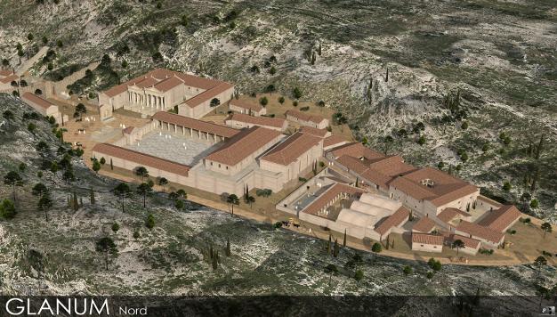 Vue de la partie nord de Glanum reconstituée en 3D