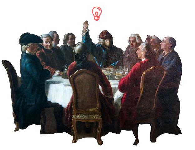 """Illustration représentant le """"Dîner des philosophes"""" du peintre Jean Hubert"""