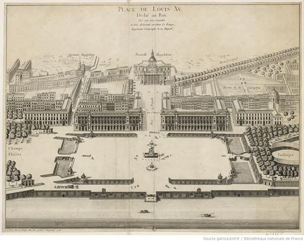 La place Louis XV en 1763, estampe de George-Louis Le Rouge