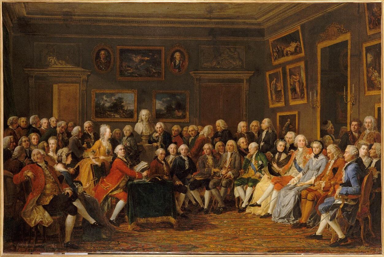 """Lecture de la tragédie de """"L'Orphelin de la Chine"""" de Voltaire dans le salon de madame Geoffrin"""