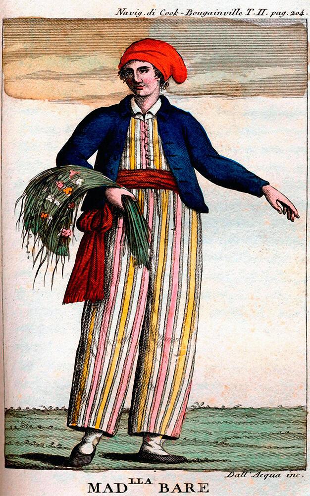 Portrait de Jeanne Barret déguisée en homme