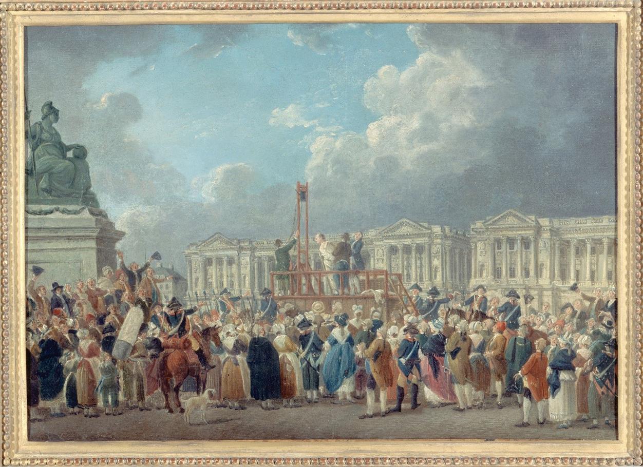Une exécution capitale, place de la Révolution, peinture de Pierre-Antoine Demachy (vers 1793)