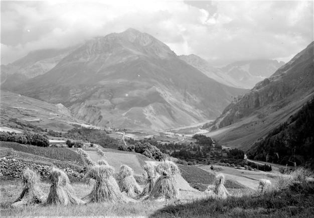 photo noir et blanc paysage agricole montagne