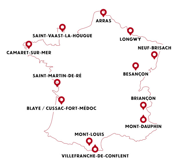 carte france sites vauban unesco