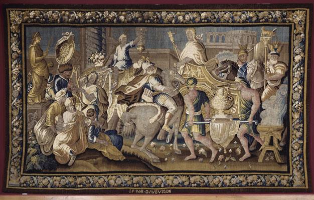L'Entrée d'Alexandre dans Babylone. Tapisserie de la manufacture d'Aubusson, pièce de la tenture de l'Histoire d'Alexandre.