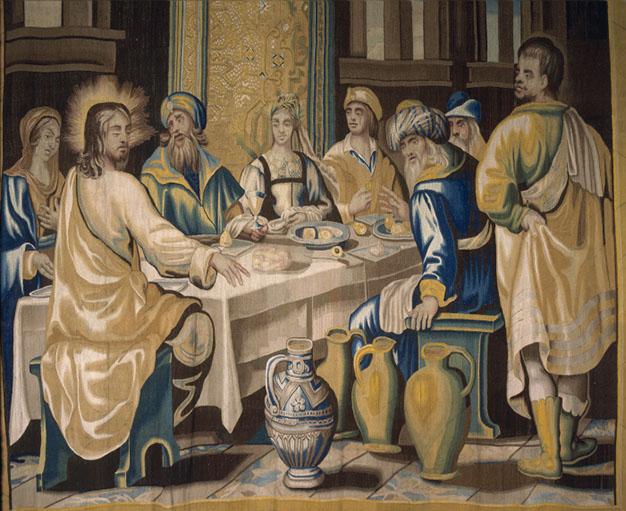 Les Noces de Cana, détail. Tenture de la vie de Jésus.