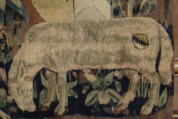 Scène champêtre aux armes et devise de Rigaud d'Aureille, détail