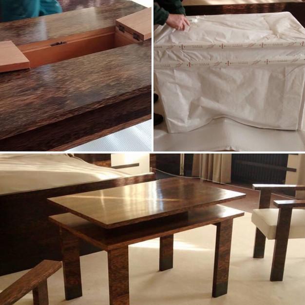 Installation de la table dans la chambre des parents