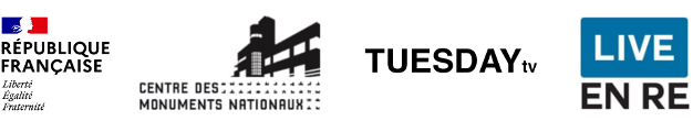 logos RF CMN Villa Tuesday TV Live en Ré